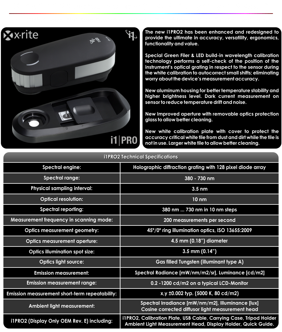 X-Rite i1PRO2 OEM Rev.E Spectrophotometer Specifications