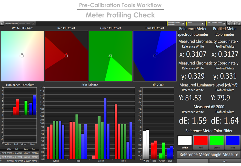 CalMAN 5 Pre-Calibration Tools Workflow - Meter Profiling Check